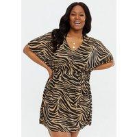 Curves Brown Zebra Print Kaftan Beach Dress New Look
