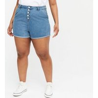 Urban Bliss Curves Bright Blue Denim Button Shorts New Look