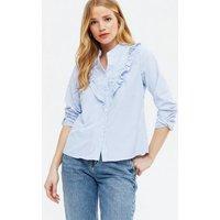 Blue Vanilla Pale Blue Stripe Ruffle Shirt New Look