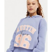Girls Light Purple Austin 96 Varsity Logo Hoodie New Look