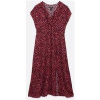 Maternity Red Leopard Print Frill Midi Wrap Dress New Look