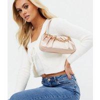 Little Mistress Pale Pink Satin Shoulder Bag New Look