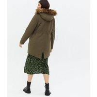 Maternity Khaki Faux Fur Hood Drawstring Parka Jacket New Look