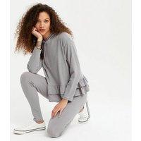 Petite Grey Ruffle Hoodie and Leggings Set New Look