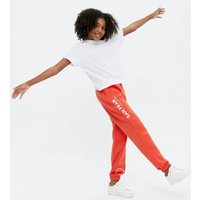 Girls Red San Fran Logo Joggers New Look