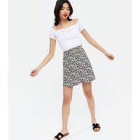 Black Floral A Line Mini Skirt New Look
