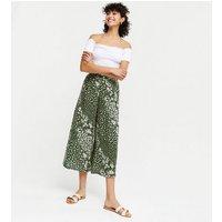 Green Paisley Wide Leg Crop Trousers New Look