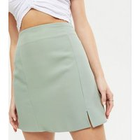 Light Green Split Front Mini Skirt New Look