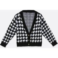 Cameo Rose Black Dogtooth Button Cardigan New Look