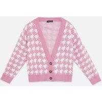 Cameo Rose Pink Dogtooth Button Cardigan New Look