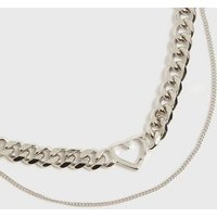 Silver Heart Pendant Double Chain Necklace New Look