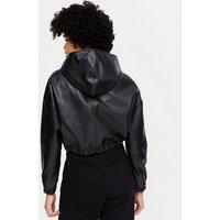 Pink Vanilla Black Leather-Look Hooded Zip Jacket New Look
