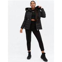 Black Faux Fur Hooded Puffer Jacket New Look