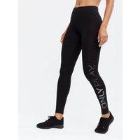 ONLY PLAY Black High Waist Jersey Logo Leggings New Look