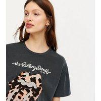 Dark Grey Acid Wash Leopard Rolling Stones Logo T-Shirt New Look