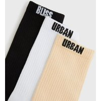 3 Pack Urban Bliss White Black and Pink Socks New Look