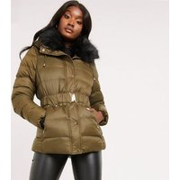 Quiz Khaki Belted Faux Fur Hooded Puffer Jacket New Look