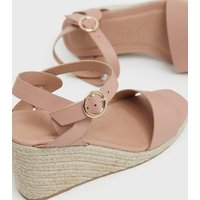 Wide Fit Pink Twist Espadrille Wedge Sandals New Look Vegan
