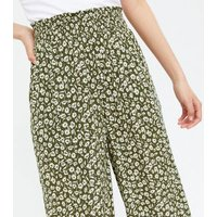 Olive Floral Shirred Waist Wide Leg Crop Trousers New Look