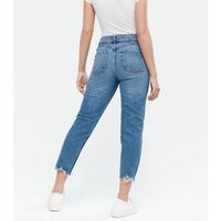 Petite Blue Raw Hem Waist Enhance Tori Mom Jeans New Look