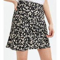 Black Leopard Print Bias Cut Mini Skirt New Look