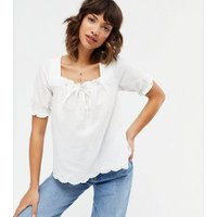 Off White Textured Square Neck Tie Front Blouse New Look