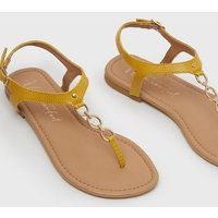 Wide Fit Mustard Faux Snake Chain Flat Sandals New Look