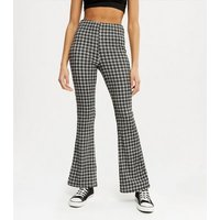Black Check Jersey Flared Trousers New Look