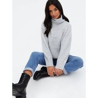 Petite Pale Grey Roll Neck Jumper New Look