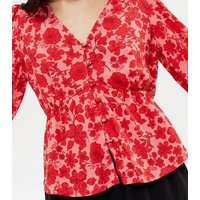 Red Floral Button Front Peplum Tea Blouse New Look