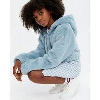 Girls Pale Blue Faux Fur Hooded Jacket New Look