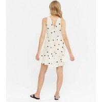 Off White Spot V Neck Tiered Mini Dress New Look