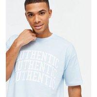 Men's Pale Blue Authentic Varsity Logo T-Shirt New Look