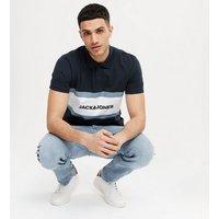 Men's Jack & Jones Navy Stripe Logo Collared Polo Shirt New Look