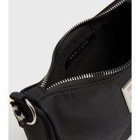 Girls Black Webbed Love Logo Shoulder Bag New Look