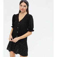 Black Crepe Puff Sleeve Blouse New Look