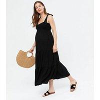Maternity Black Tiered Tie Strap Midi Dress New Look