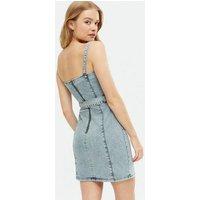 Bright Blue Denim Acid Wash Belted Bodycon Dress New Look