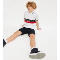 Boys White Colour Block Logo Polo Top New Look