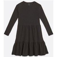 Black Crinkle Long Sleeve Smock Dress New Look