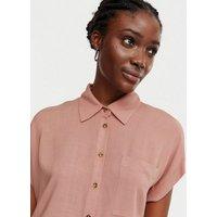 Mid Pink Crosshatch Short Sleeve Shirt New Look