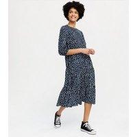 Blue Vanilla Navy Spot Tiered Smock Midi Dress New Look