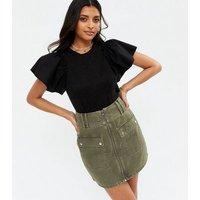 Black Fine Knit Poplin Frill Sleeve T-Shirt New Look