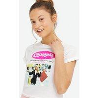 Girls White Clueless Meme Logo T-Shirt New Look