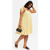 Curves Yellow Floral Tie Strap Tiered Mini Dress New Look