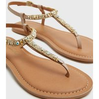 Cream Leather Gem Strap Toe Post Sandals New Look