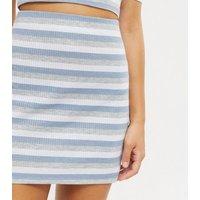 Wednesdays Girl Blue Stripe Ribbed Mini Skirt New Look
