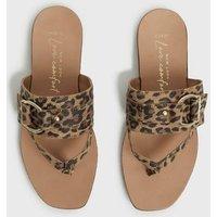 Wide Fit Stone Suede Leopard Print Flip Flops New Look