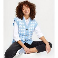 Cameo Rose Blue Dogtooth Button Up Vest Jumper New Look