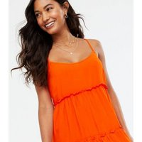 Red Strappy Tiered Sundress New Look